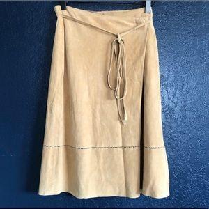 Theory | Suede wrap midi skirt